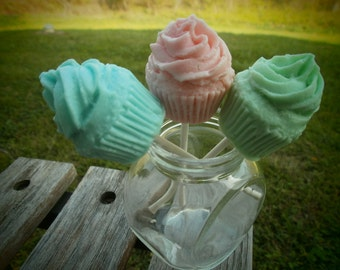 cupcake soaps on a stick