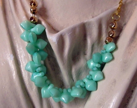 Mint Green Leaf Beads and Gold Chain Necklace