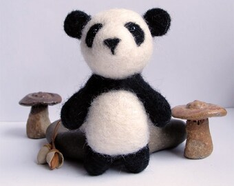 Needle felted panda bear