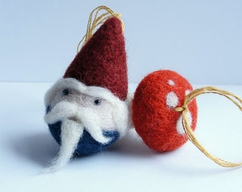 Needle felted Gnome and Mushroom Ornament Set