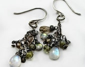 Moonstone and Labradorite sterling silver earrings, handmade with natural gemstones