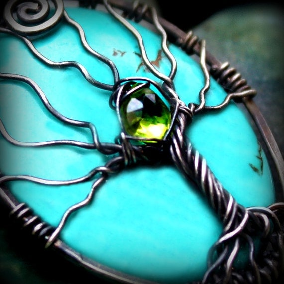 Mystical Tree of life pendant - Turquoise and Peridot gemstones - 925 Sterling silver