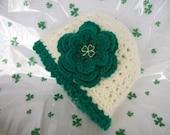 Irish Rose Girls Cloche with Shamrock Charm