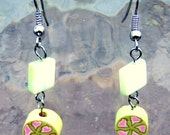 RESERVED for SPRING FLING Treasury Giveaway- green and pink spring floral Earrings