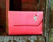 v i n t a g e sweet shabby chic pink rose wallet / clutch