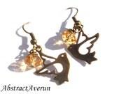 Dove Earrings - Golden Crystal Rondelle Beads - Charm, Bird Earrings