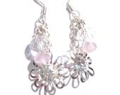 Flower Earrings - Summer, Charm, Light Pink Rondelle Beaded, Dangle Earrings.