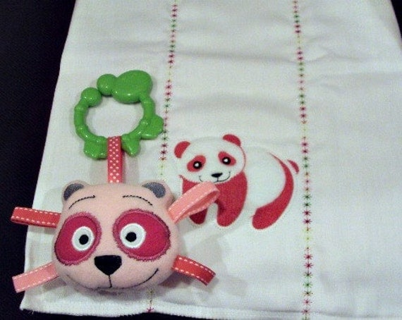 Panda burp cloth for girls in pink and white with matching sofite toy with  c clip. Burpcloth can be personalized for an extra charge.