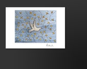 4. Medieval Dove - (Handpainted Gold Leaves, Laminated - Handmade Greeting Card)