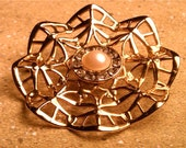 Vintage Gold Lace Rhinestone and Pearl Brooch
