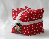 Set of 4 Bright Red and White Polk-a-Dot Beanbags