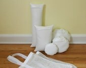 Five White Waterproof Vinyl Photo Props for Positioning Baby, Bundled in a Sack
