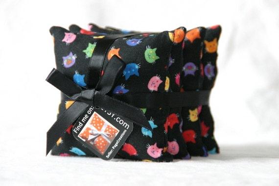 Set of 4 Rainbow Kitty Beanbags