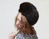 Vintage Fur Hat / Bucket Helmet Hat / Chocolate Brown