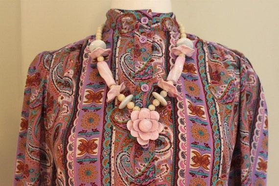 "Vintage 70's Boho Paisley Stripe Blouse / Regina Porter Size 8 / 43"" Bust / Hippie Bohemian Button Front / Turquoise Pink Purple / High Neck"