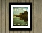 Scotland Travel Print Poster Eilean Donan in Rich Green, Blue, Brown Textures