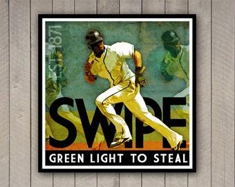 "Baseball Print ""Green Light to Steal"" 12x12 Inspirational Baseball Poster in Green, Blue, Yellow"