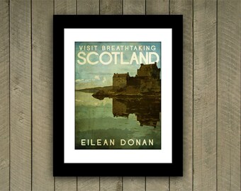 Scotland Travel Print Poster Eilean Donan in Rich Green, Blue, Brown Textures