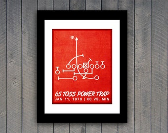 "Chiefs Football Print ""65 Toss Power Trap"" Kansas City Chiefs Football Poster in Chiefs Red and White"