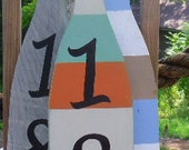 Recycled-Upcycled Wood-Nautical Design-Wooden Oar Beach Style -Wood Paddle for address numbers -911 numbers-Custom made for your address