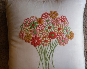 Retro Pillow Nettle Creek Embroidered Floral Decorative