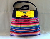 Mexican Fiesta striped Handbag with Yellow interior and Bow
