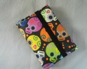 Colorful Sugar Skulls Business Card Holder with Lime Green Interior