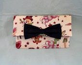 Tattoo Wallet or Mini Clutch with Black Interior and Black Bow