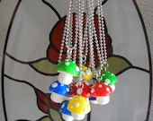 Cute Rainbow Mushroom Charm Necklaces - MADE TO ORDER, 6 colours available