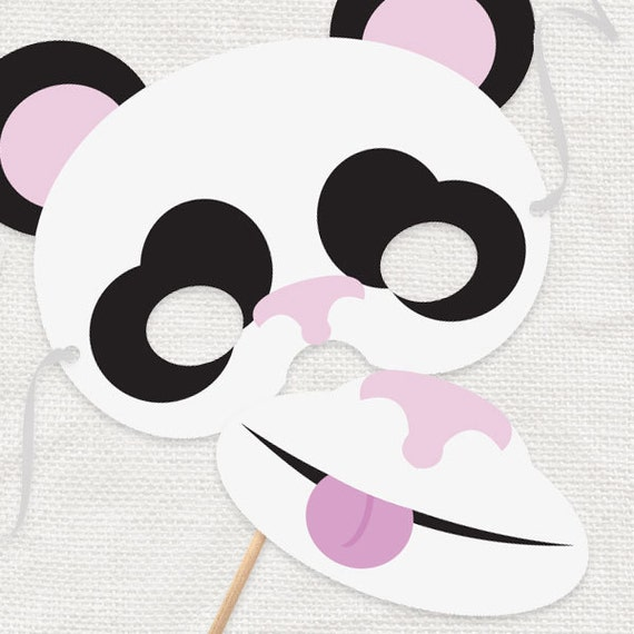 DIY party costume mask - panda bear - printable file, downloadable, party supplies, photo props, dress up, zoo animals, kids, on a stick