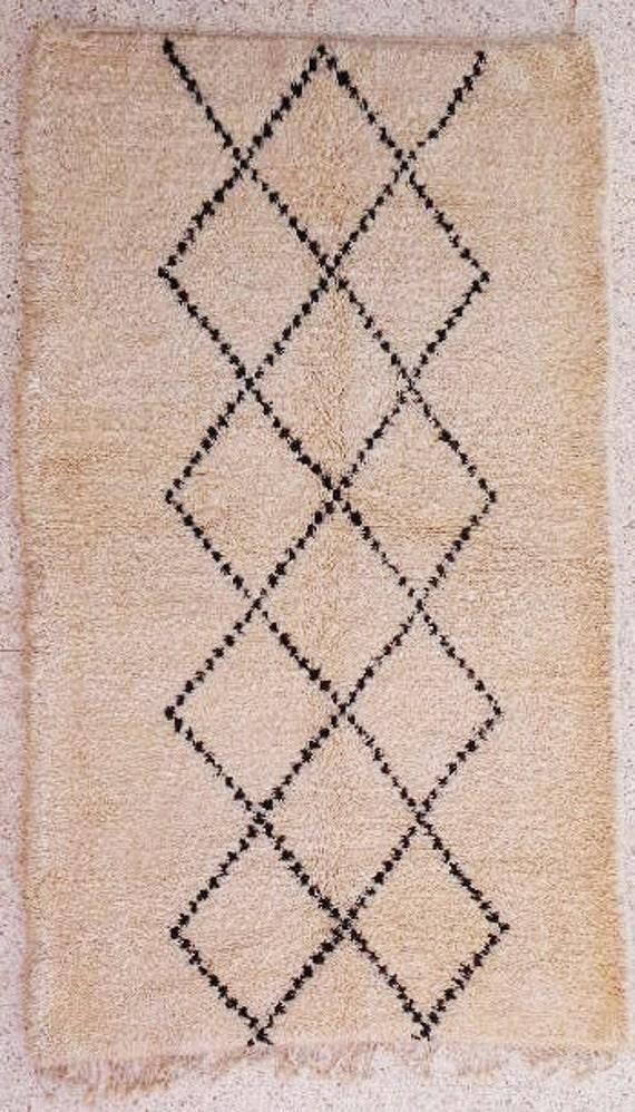 Items Similar To Natural White Wool Moroccan Carpet Beni