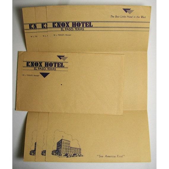 Knox Hotel El Paso, Texas TX Letterhead Stationery