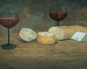Cheese and Wine, French Country Kitchen Painting Signed Fine Art Print, 20x10 inches