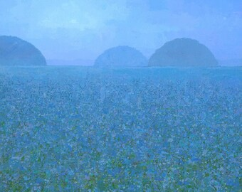 Blue Meadow I (detail), Hazy Landscape Painting, Signed Giclee Print 11x11 inches