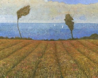 Seaside Meadow, Cornish Landscape Painting, Signed Giclee Print