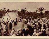Algeria Scenes ET Types Fantasia Guerrilla Warfare Gun Battle Vintage Real Photograph Postcard RPPC