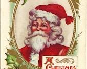 Antique Postcard - Christmas Greetings - Red Santa - Green & Gold Gilt Holly