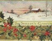 Antique Christmas Postcard - Signed R Halls - 1908 - Country - Winter Scene - Season's Greetings