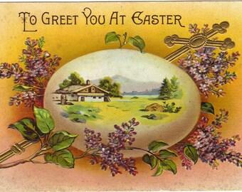 Antique Easter Postcard Cross Egg Lilacs Scenic
