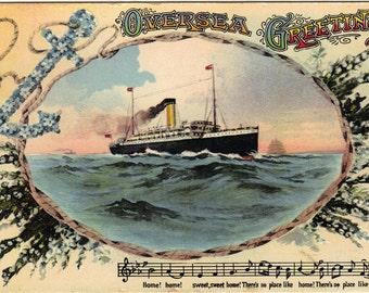 Postcard Steam Ship Musical Bars Overseas Greetings