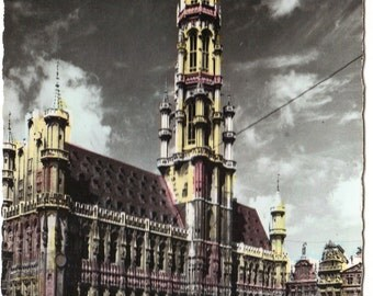 Hotel de Ville in the Grand Place (Grote Markt) Brussels Belgium Vintage Hand Colored Real Photograph Postcard