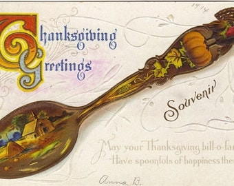 Souvenir Spoon with Thanksgiving Scene Painted on it Vintage Postcard Thanksgiving Verse Embossed Thanksgiving Greetings
