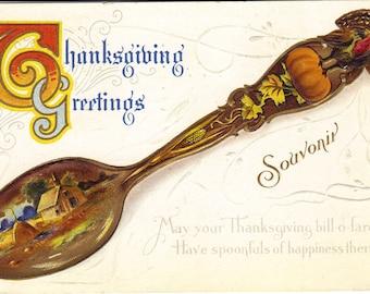 Souvenir Spoon with Turkey and Pumpkin on it Thanksgiving Vintage Postcard