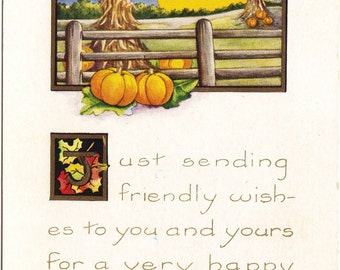 Corn Shock Behind Old Wood Fence Pumpkins & Full Moon Vintage Postcard Autumn Country Scene Holiday Greetings