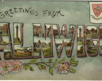 Greetings From Alnwick - Big Letter - Enamel - 1918 - Halfpenny Stamp Vintage Postcard very old albumin
