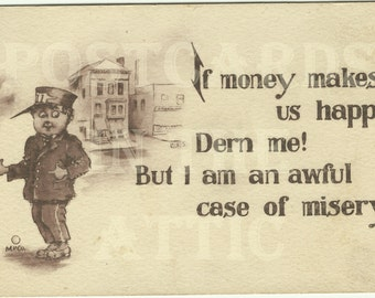 If Money Buys You Happiness Comical Vintage Postcard Messenger Boys or Doorman in Sepia tones 1912