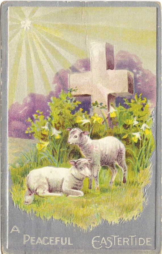 Antique Easter Postcard Cross and Lamb