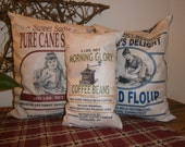 Primitive country feed sack pillows - Flour, Sugar & Coffee - Country cottage, shabby chic, home decor