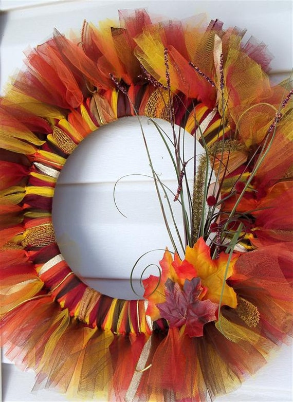 Autumn / Fall Tulle Wreath- A MUST SEE