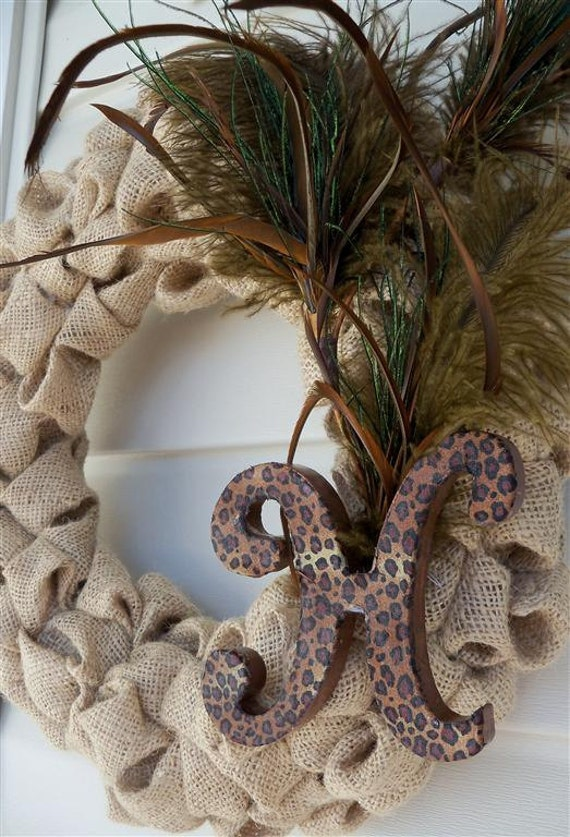 Burlap Bubble Wreath with Feathers and Custom Monogram Letter- A MUST SEE